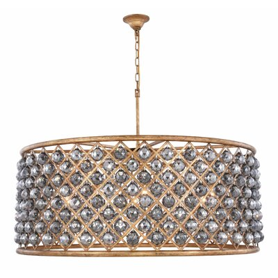 Morion 10-Light Drum Pendant Crystal Color: Gray