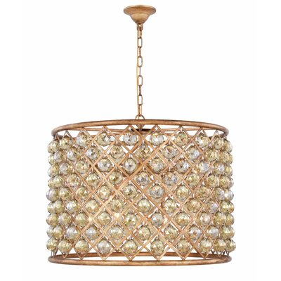 Morion 8-Light Drum Pendant Crystal Color: Smoky