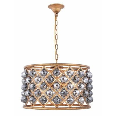 Morion 6-Light Drum Pendant Crystal Color: Gray