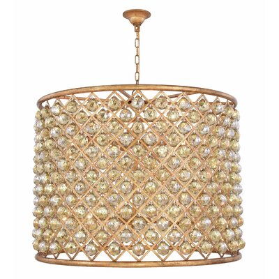 Morion 12-Light Drum Pendant Crystal Color: Smoky