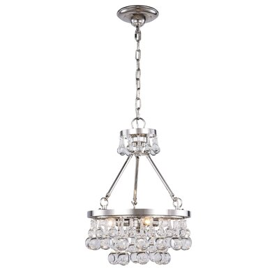 Verlie 3-Light Crystal Pendant Finish: Polished Nickel