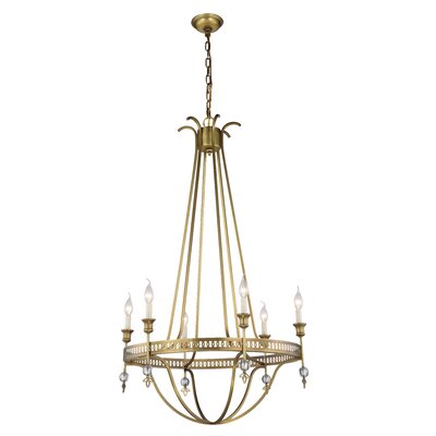 Trevorton 6-Light Candle-Style Chandelier Finish: Burnished Brass