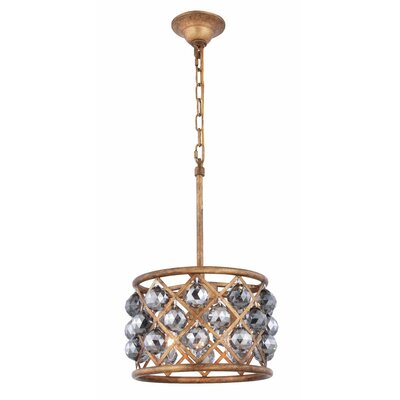 Morion 3-Light Drum Pendant Crystal Color: Gray