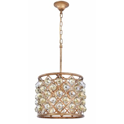 Morion 4-Light Drum Pendant Crystal Color: Smoky