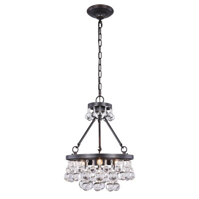 Verlie 3-Light Crystal Pendant Finish: Bronze