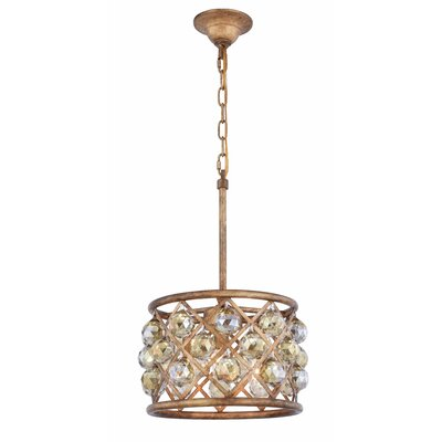 Morion 3-Light Drum Pendant Crystal Color: Smoky