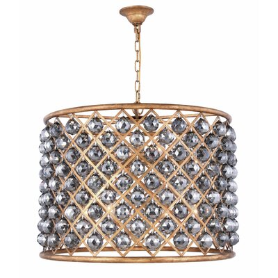 Morion 8-Light Drum Pendant Crystal Color: Gray