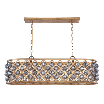 Morion 6-Light Kitchen Island Pendant Crystal Color: Gray