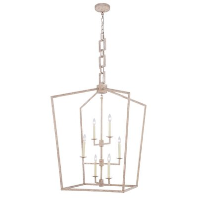 Isoline 6-Light Foyer Pendant Finish: Ivory Wash, Size: 34.5 H x 24 W x 24 D