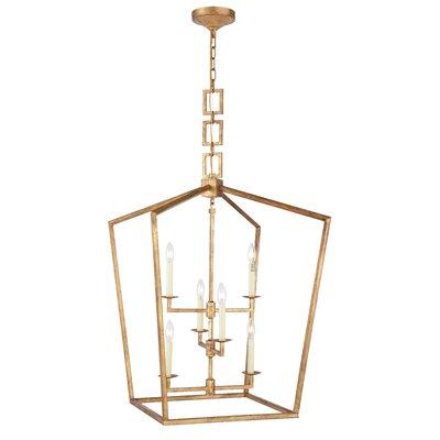 Denmark 6-Light Foyer Pendant Finish: Golden Iron, Size: 34.5 H x 24 W x 24 D