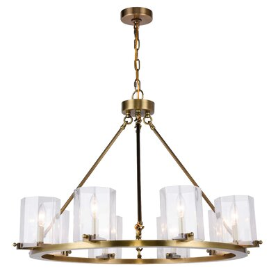 Monterey 8-Light Candle-Style Chandelier Finish: Burnished Brass