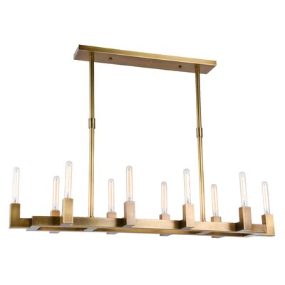 Corsica 10-Light Kitchen Island Pendant Finish: Burnished Brass