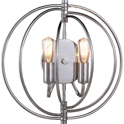 Vienna 2-Light Wall Sconce Base Finish: Polished Nickel