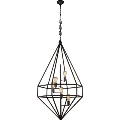 Jayme 5-Light Foyer Pendant Finish: Golden Iron