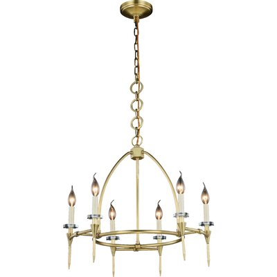 Verasha 6-Light Candle-Style Chandelier Finish: Burnished Brass