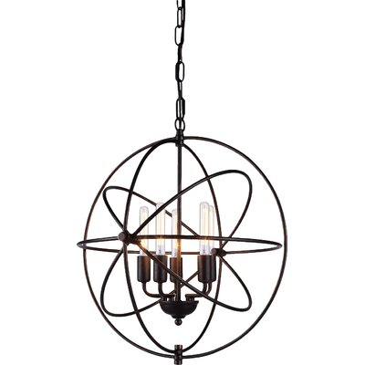 Hamby 5-Light Globe Pendant Finish: Dark Bronze