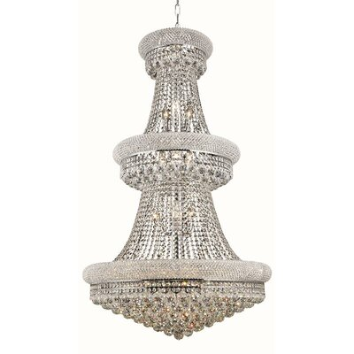 Primo 32-Light Crystal Chandelier Size / Finish / Crystal Trim: 36 / Chrome / Strass Swarovski