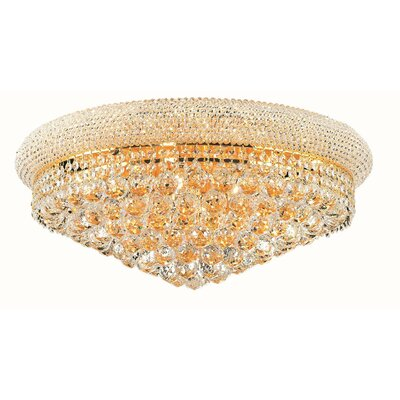 Jessenia 12-Light Flush Mount Finish: Gold, Crystal Grade: Elegant Cut