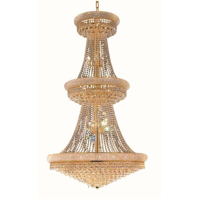 Primo 38-Light Crystal Chandelier Finish: Gold, Crystal Trim: Spectra Swarovski