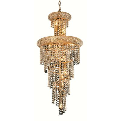 Mathilde 10-Light Cascade Pendant Finish: Gold, Crystal Trim: Strass Swarovski