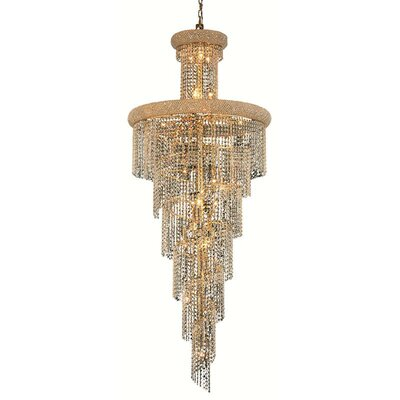 Spiral 28-Light Crystal Pendant Finish: Gold, Crystal Trim: Strass Swarovski