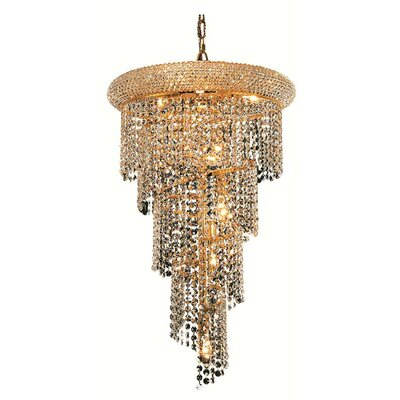Mathilde 8-Light Cascade Pendant Finish: Gold, Crystal Trim: Royal Cut