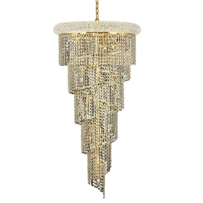 Spiral 18-Light Crystal Pendant Finish: Gold, Crystal Trim: Elegant Cut