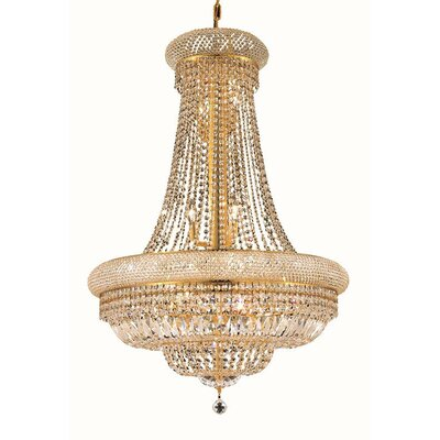 Jessenia 14-Light Glass Empire Chandelier Size / Finish / Crystal Trim: 24 / Gold / Elegant Cut