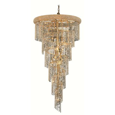 Spiral 22-Light Crystal Pendant Finish: Gold, Crystal Trim: Royal Cut