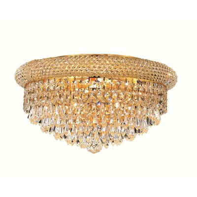 Jessenia 8-Light Crystal Shade Flush Mount Finish: Gold, Crystal Grade: Elegant Cut