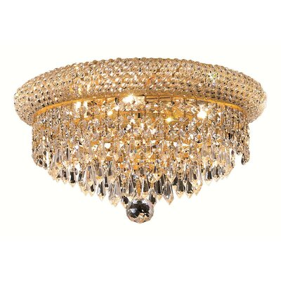 Jessenia 6-Light Flush Mount Finish: Gold, Crystal Grade: Elegant Cut