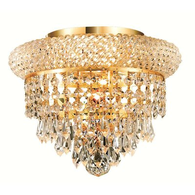 Jessenia 3-Light Crystal Shade Flush Mount Finish: Gold, Crystal Grade: Elegant Cut