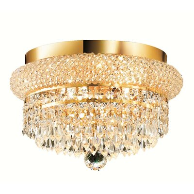 Jessenia 4-Light Crystal Shade Flush Mount Finish: Gold, Crystal Grade: Strass Swarovski