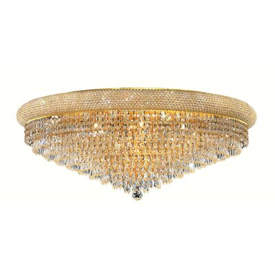 Jessenia Contemporary 20-Light Crystal Shade Flush Mount Finish: Chrome, Crystal Grade: Royal Cut