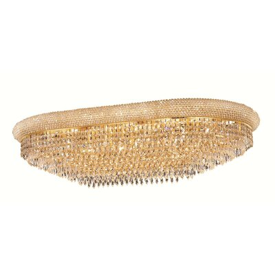 Jessenia 24-Light Crystal Shade Flush Mount Finish: Gold, Crystal Grade: Strass Swarovski