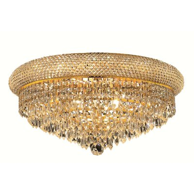 Jessenia 10-Light Crystal Shade Flush Mount Finish: Gold, Crystal Grade: Strass Swarovski