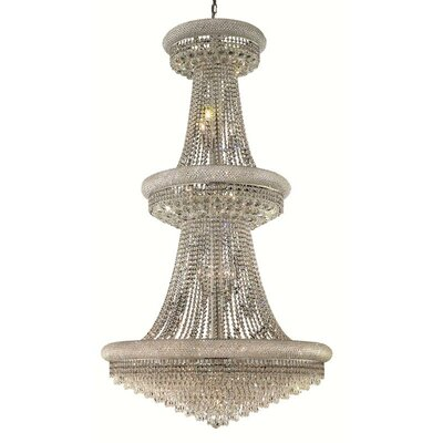 Jessenia Glam 32-Light Crystal Chandelier Size / Finish / Crystal Trim: 36 / Chrome / Elegant Cut