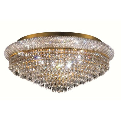 Jessenia Contemporary 15-Light Crystal Shade Flush Mount Finish: Gold, Crystal Grade: Royal Cut