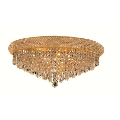 Jessenia Contemporary 12-Light Crystal Shade Flush Mount Finish: Chrome, Crystal Grade: Strass Swarovski