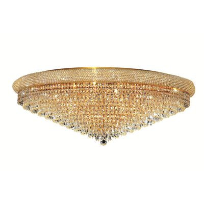 Jessenia 30-Light Crystal Shade Flush Mount Finish: Gold, Crystal Grade: Elegant Cut