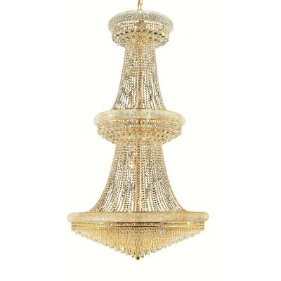 Jessenia Glam 38-Light Chain Crystal Chandelier Finish: Gold, Crystal Trim: Royal Cut