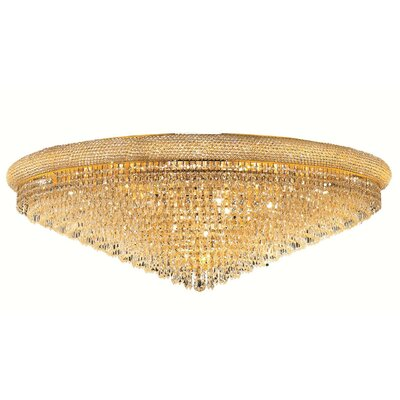 Jessenia 33-Light Crystal Shade Flush Mount Finish: Gold, Crystal Grade: Strass Swarovski