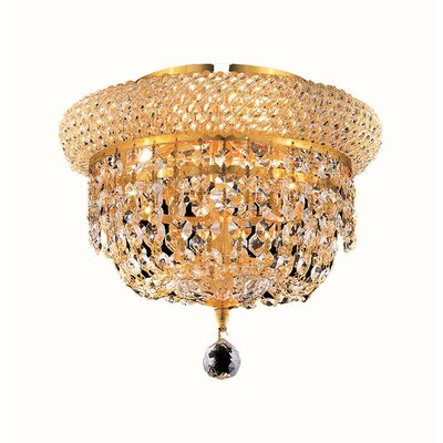 Jessenia 3-Light Flush Mount Finish: Gold, Crystal Grade: Strass Swarovski