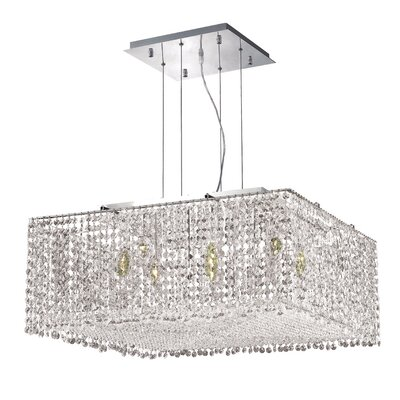 Troas Contemporary 9-Light Kitchen Island Pendant Crystal Color / Crystal Trim: Crystal (Clear) / Royal Cut