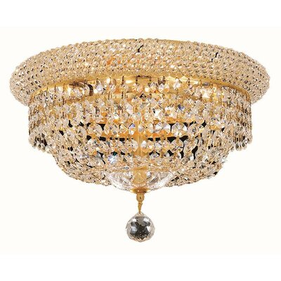 Jessenia 6-Light 14 Flush Mount Finish: Gold, Crystal Grade: Elegant Cut