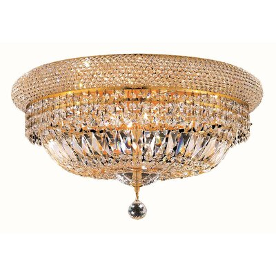 Jessenia Contemporary 10-Light Crystal Shade Flush Mount Finish: Gold, Crystal Grade: Spectra Swarovski