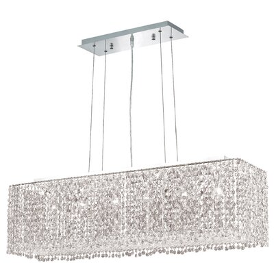 Troas 6-Light Pendant Size / Crystal Color / Crystal Trim: 38 / Crystal (Clear) / Elegant Cut