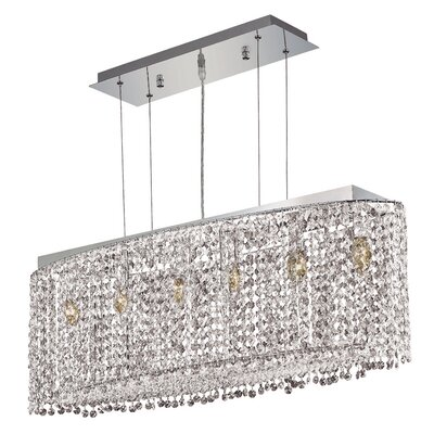 Troas 6-Light Crystal Pendant Size / Crystal Color / Crystal Trim: 38 / Crystal (Clear) / Strass Swarovski
