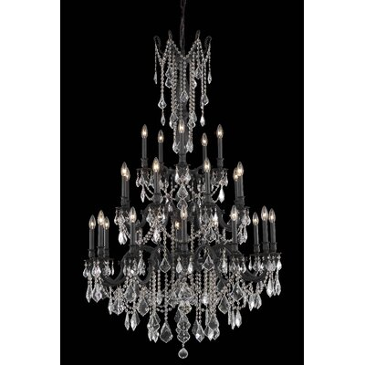Utica 25-Light Crystal Chandelier Crystal Color / Crystal Trim: Golden Teak (Smoky) / Royal Cut