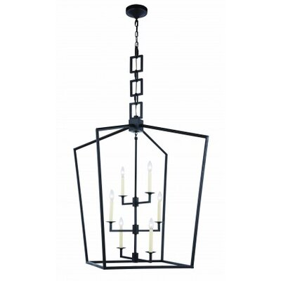 Denmark 6-Light Foyer Pendant Size: 34.5 H x 24 W x 24 D, Finish: Vintage Bronze